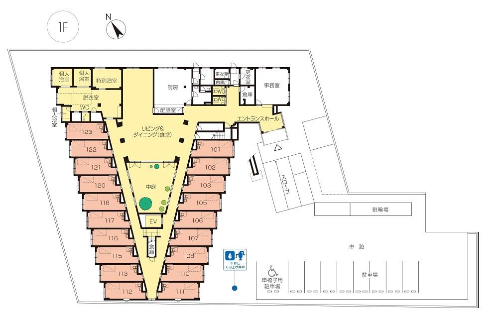 ニチイホーム国立(介護付有料老人ホーム)の画像(11)1階平面図