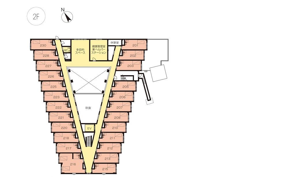 ニチイホーム国立(介護付有料老人ホーム)の画像(12)2階平面図