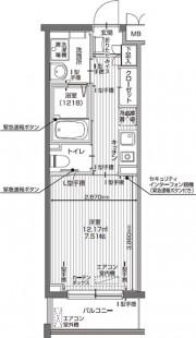 アイリスガーデン昭島 昭和の森(サービス付き高齢者向け住宅)の画像(24)1K Aタイプ間取り