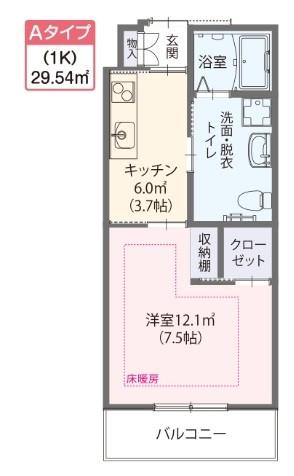ゆいま~る花の木(サービス付き高齢者向け住宅)の画像(7)Aタイプ居室 間取り