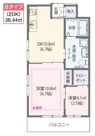 ゆいま~る花の木(サービス付き高齢者向け住宅)の画像(12)Bタイプ居室 間取り