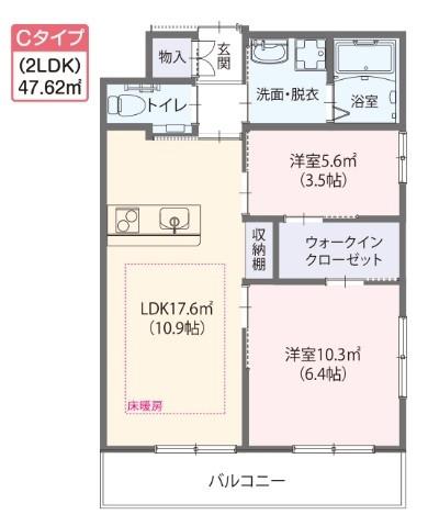 ゆいま~る花の木(サービス付き高齢者向け住宅)の画像(15)Cタイプ居室 間取り