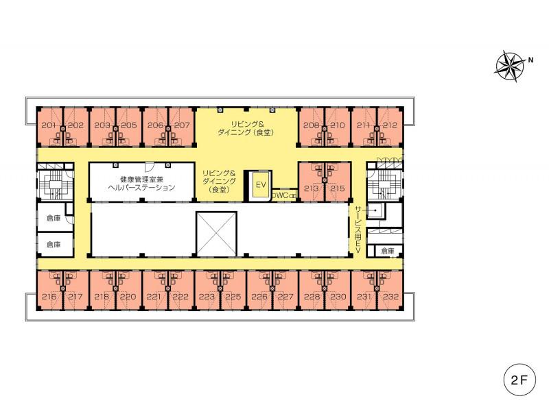 ニチイホーム仲町台(介護付有料老人ホーム(一般型特定施設入居者生活介護))の画像(12)2階の間取り図