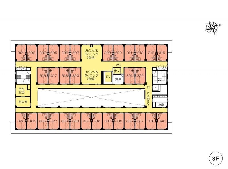 ニチイホーム仲町台(介護付有料老人ホーム(一般型特定施設入居者生活介護))の画像(13)3階の間取り図