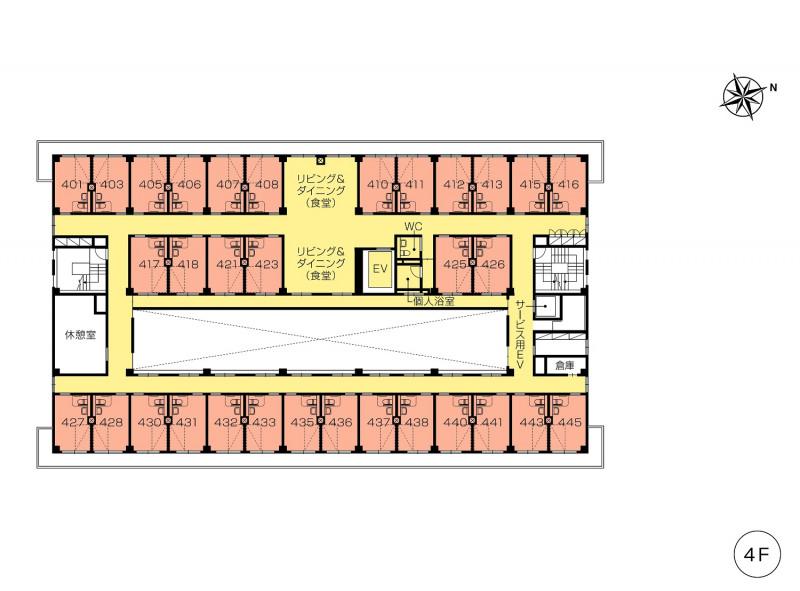 ニチイホーム仲町台(介護付有料老人ホーム(一般型特定施設入居者生活介護))の画像(14)4階の間取り図
