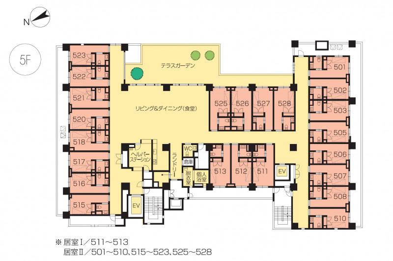 ニチイホームセンター北(介護付有料老人ホーム)の画像(20)5階の間取り図