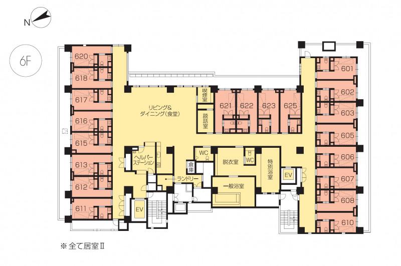ニチイホームセンター北(介護付有料老人ホーム)の画像(21)6階の間取り図
