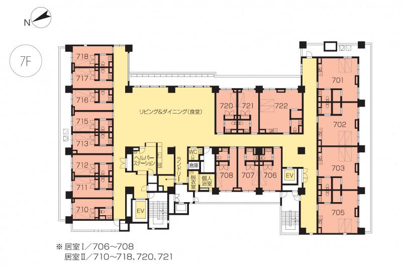 ニチイホームセンター北(介護付有料老人ホーム)の画像(22)7階の間取り図