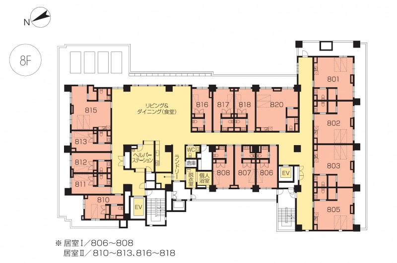 ニチイホームセンター北(介護付有料老人ホーム)の画像(23)8階の間取り図